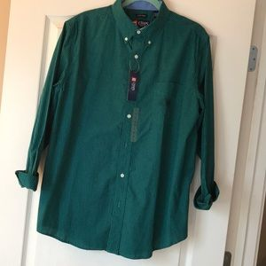 Men's green and black plaid shirt